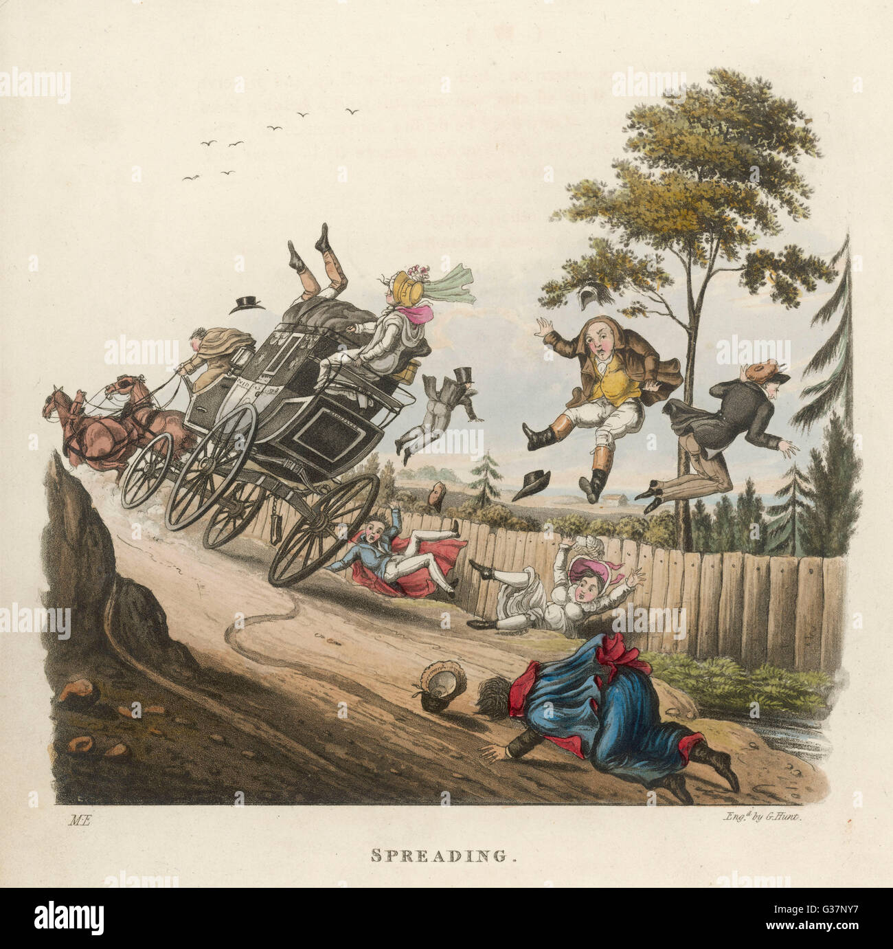 A stagecoach sheds its load...         Date: 1824 - Stock Image
