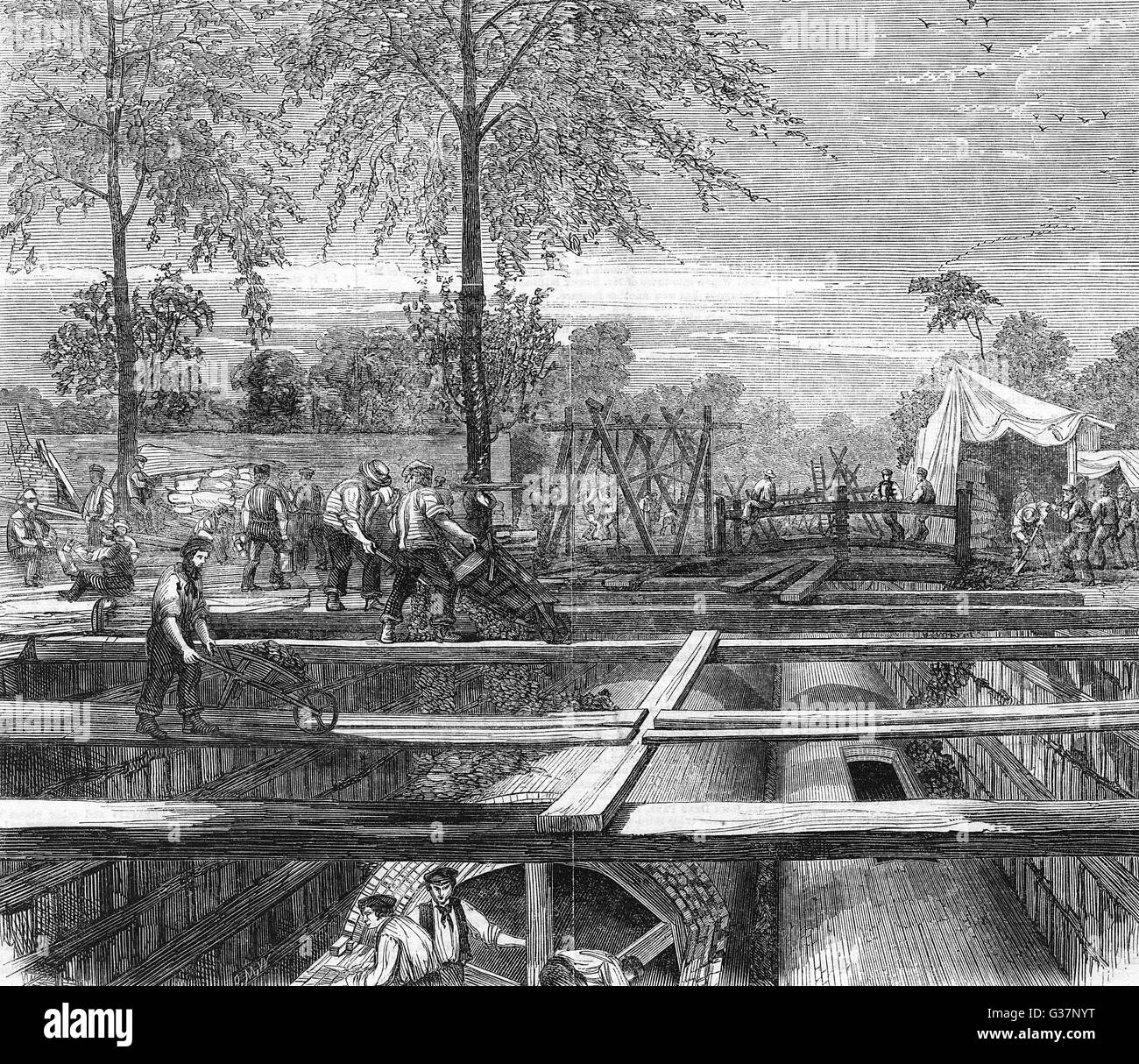 London Metropolitan main drainage works : constructing sewers at New Cross        Date: 1861 - Stock Image