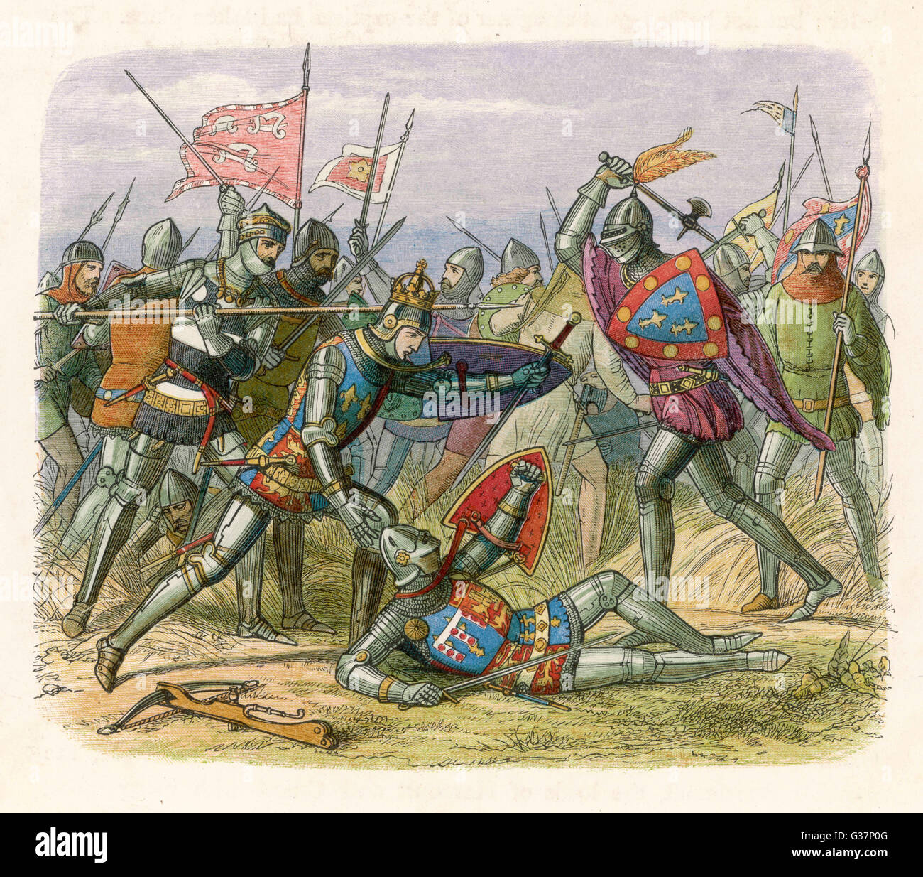 Henry V leads the English to  victory at Agincourt,  defeating an army four times  as large : the French lost  8000, - Stock Image