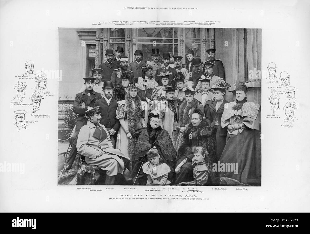 Queen Victoria (1819 - 1901) with European Royalty at  Coburg in 1894.       Date: 1894 - Stock Image