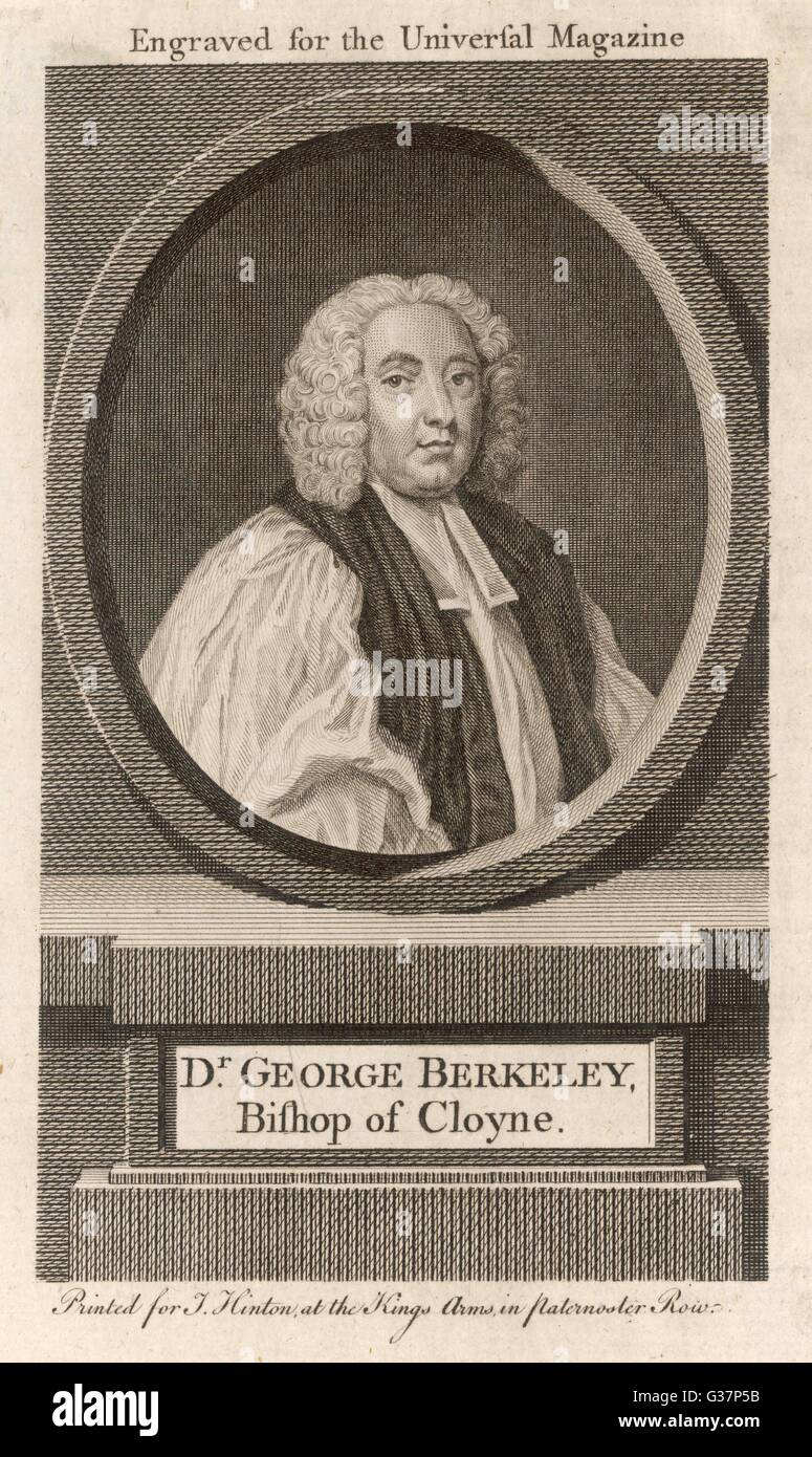 George Berkeley (1685-1753),  Irish bishop and philosopher,  opposed materialism, and founded a form of Idealism. - Stock Image