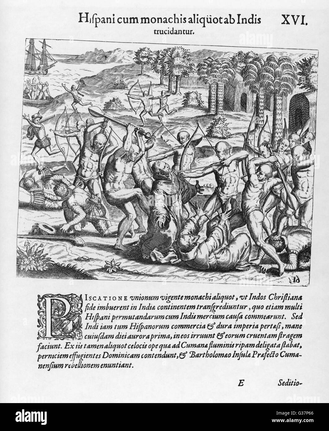 Angered by Spanish intrusion on their lives, their greed and harshness, the natives of Cumana turn on them and slaughter - Stock Image