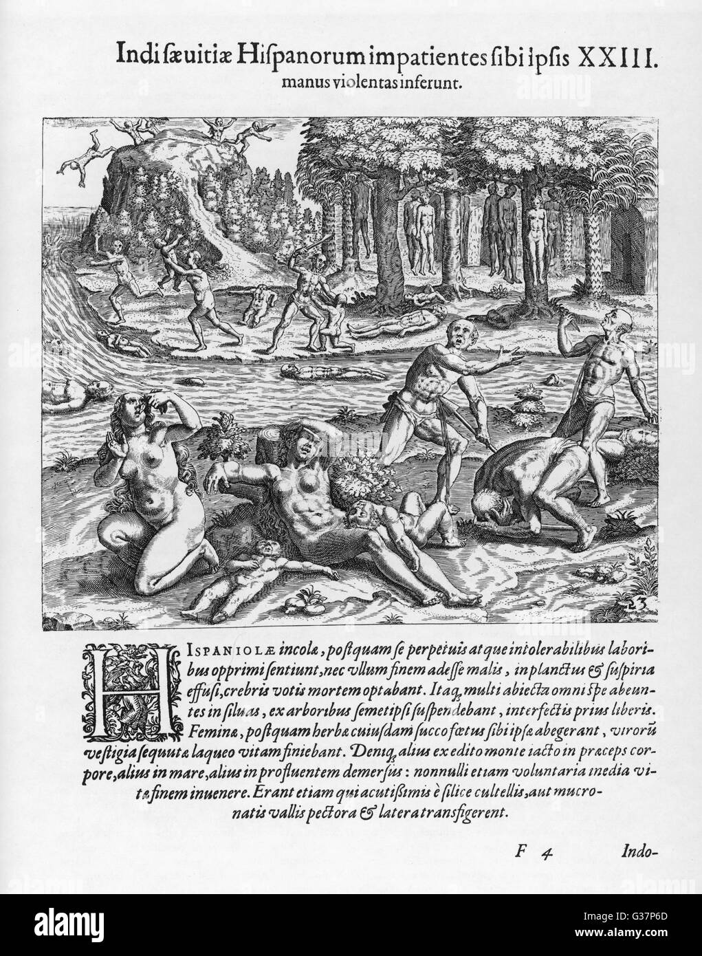 Natives of Haiti, desperate because of the cruelty and greed of the Spaniards, kill themselves and their children. - Stock Image