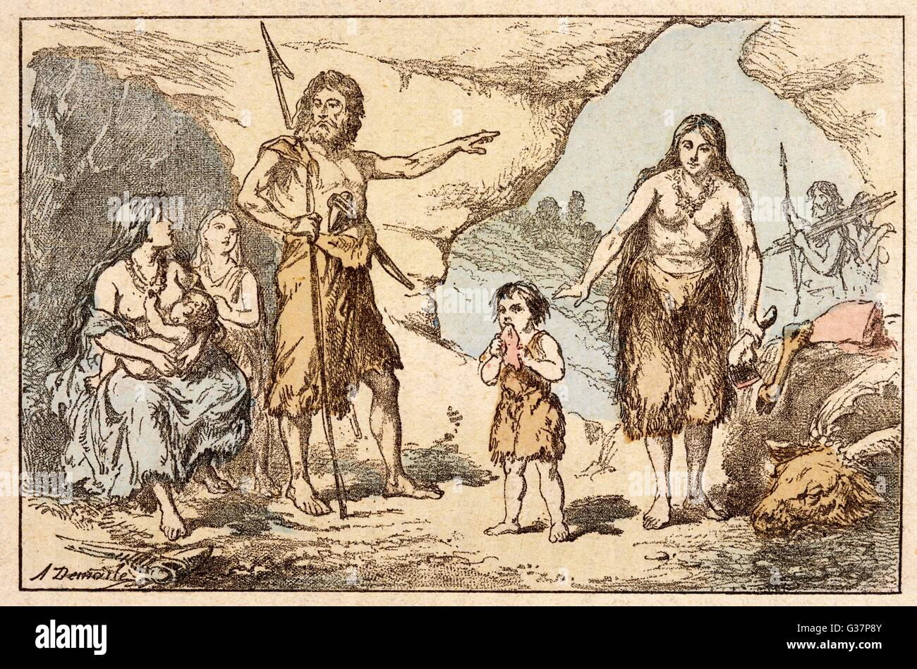 Cave dwellers: a caveman  issues the day's orders         Date: circa 5000 BC - Stock Image