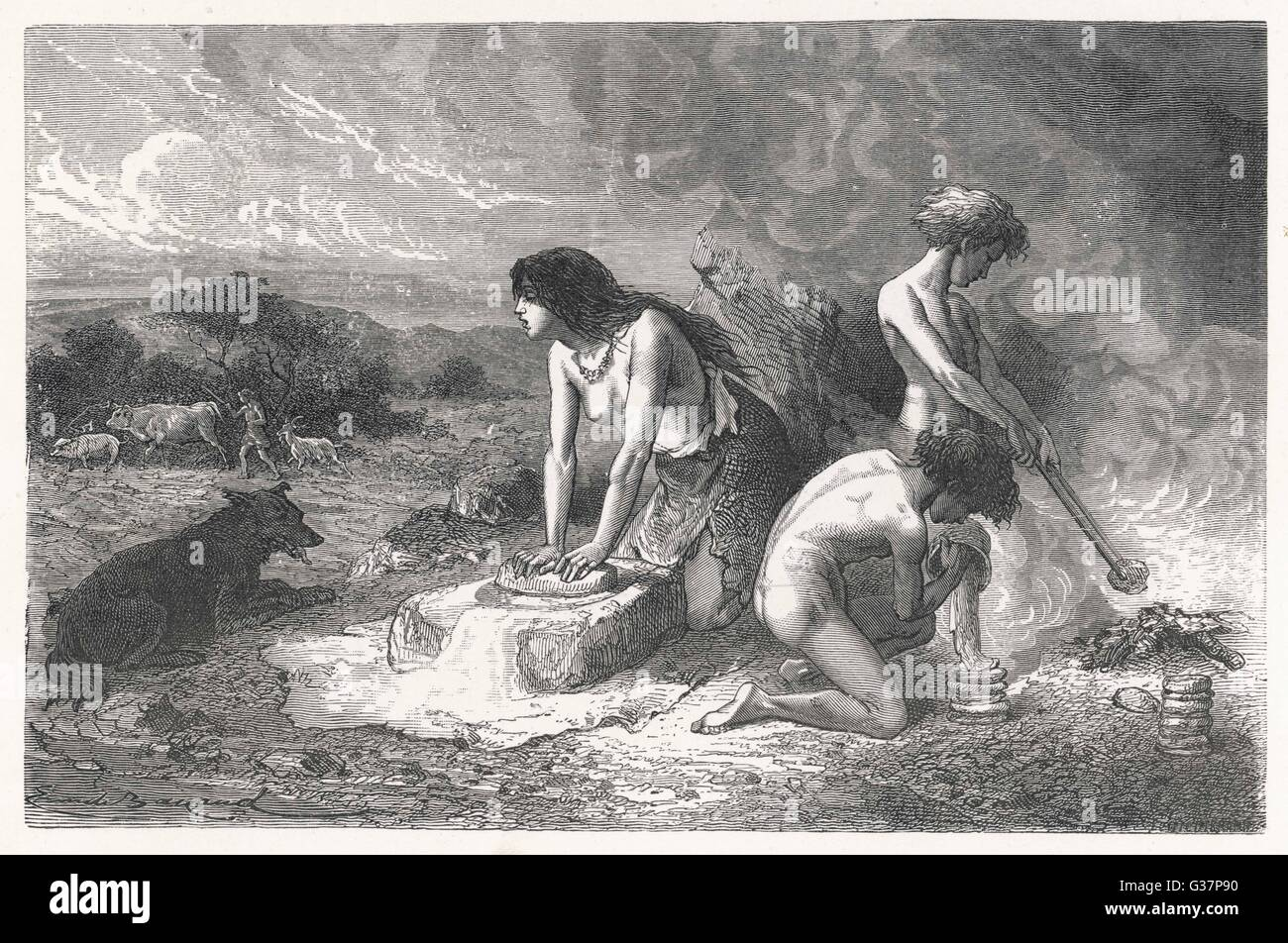 Stone age baking over the fire (Palaeolithic era)        Date: circa 3000 BC - Stock Image