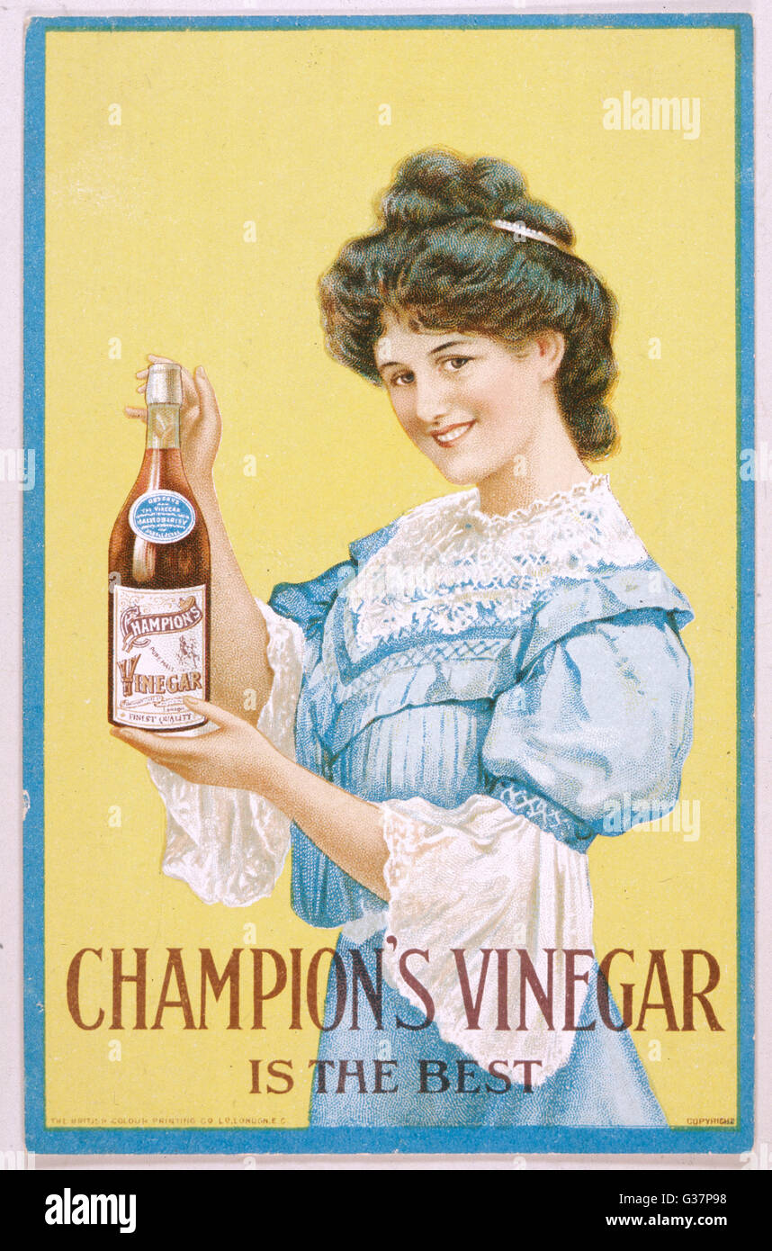 Smiley girl advertises  Champion's vinegar         Date: 1900 - Stock Image