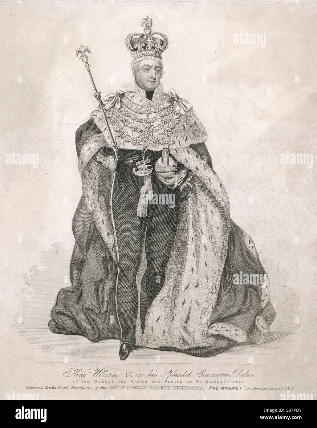 WILLIAM IV KING OF ENGLAND in his coronation robes        Date: 1765 - 1837 - Stock Image