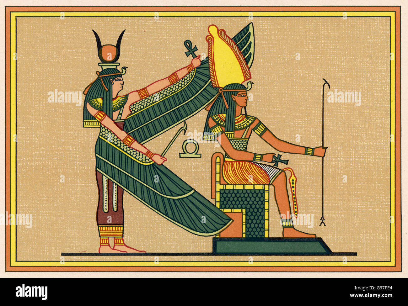 ISIS with PTAH-SEKER-AUSAR god of the resurrection - Stock Image
