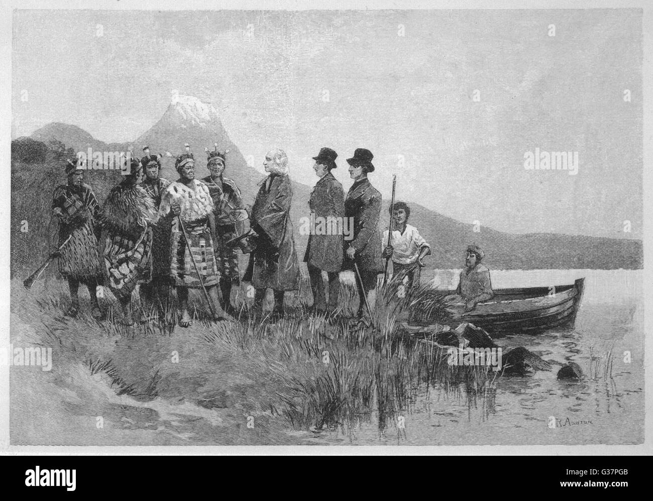 SAMUEL MARSDEN lands in the  Bay of Islands(North Island)   and is met by native Maoris.        Date: circa 1809 - Stock Image