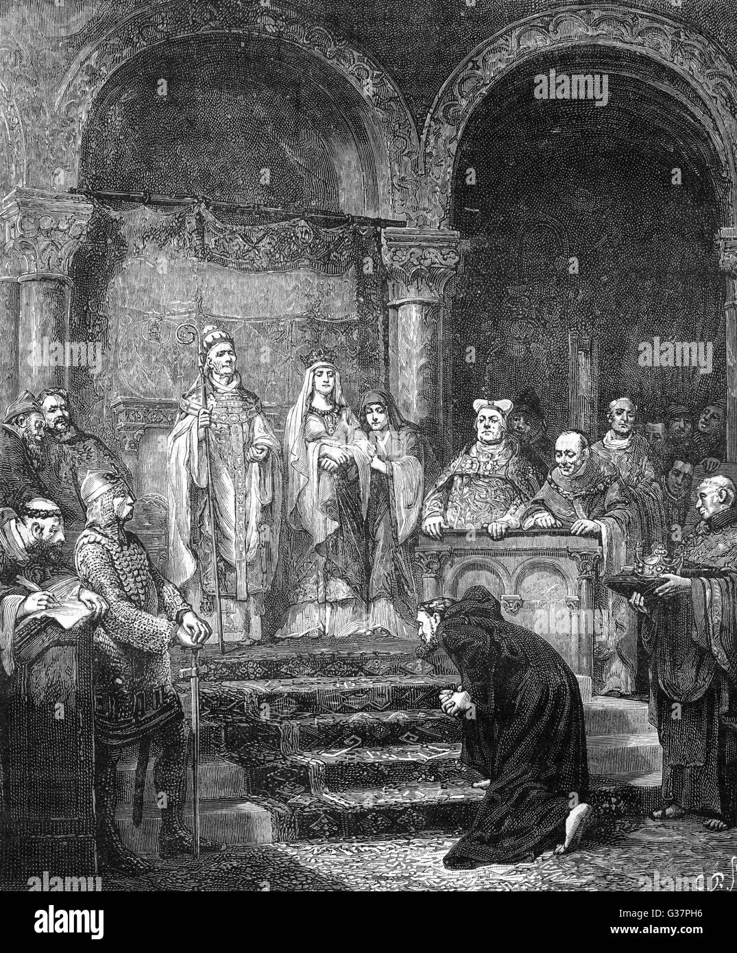 The Holy Roman Emperor  HEINRICH IV does penance at  Canossa, Modena, after which  he is forgiven by pope  Gregorius - Stock Image