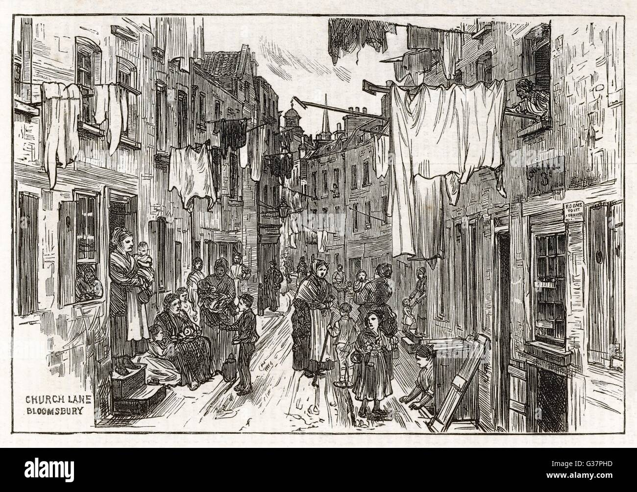 Street scene in Church Lane,  Bloomsbury, London - mothers and children        Date: 1875 - Stock Image