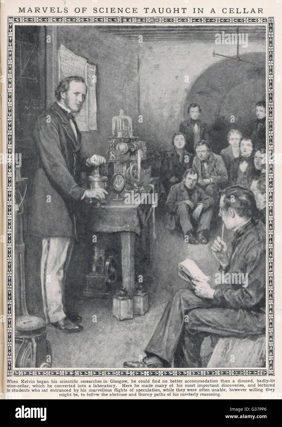 WILLIAM THOMSON, later Lord  Kelvin, demonstrates to  students at Glasgow University  in the cellar he used as his - Stock Image
