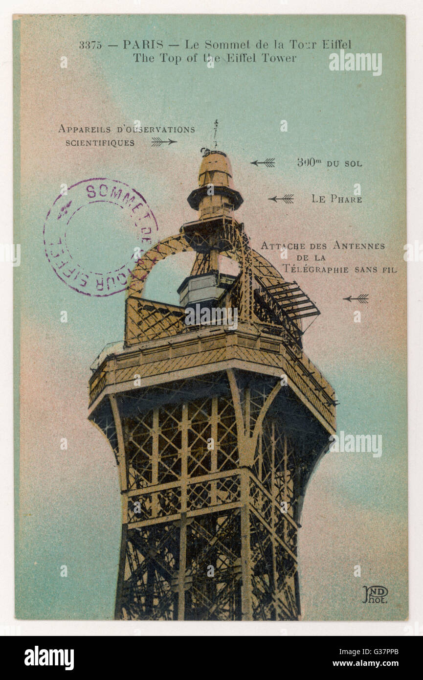 The summit of the tower - note  postmark confirming that this  postcard was posted at the top        Date: 1921 - Stock Image