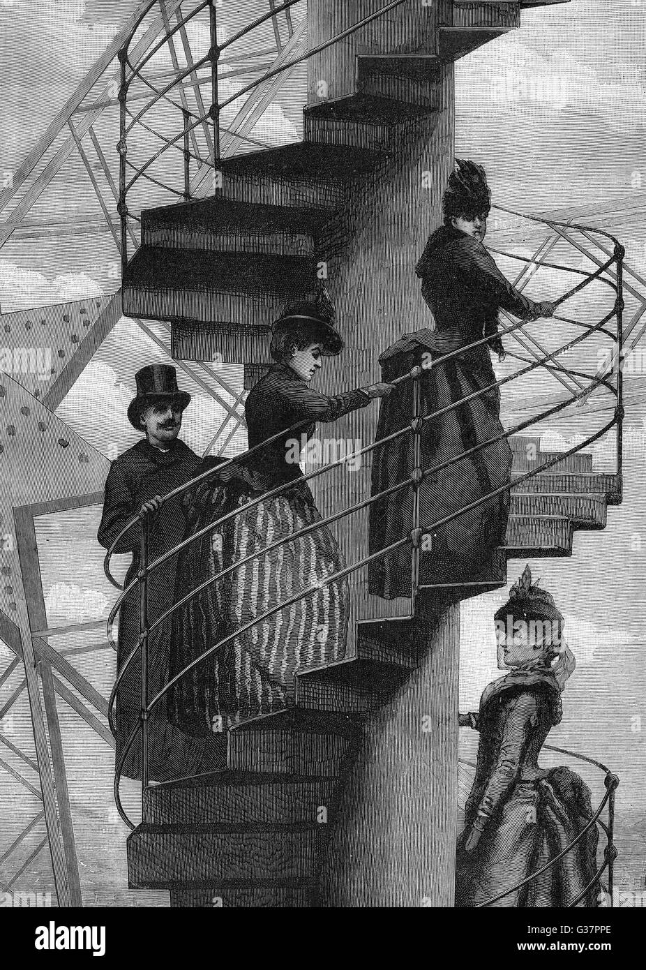 Athletic types walking up the  spiral staircase         Date: 1889 - Stock Image