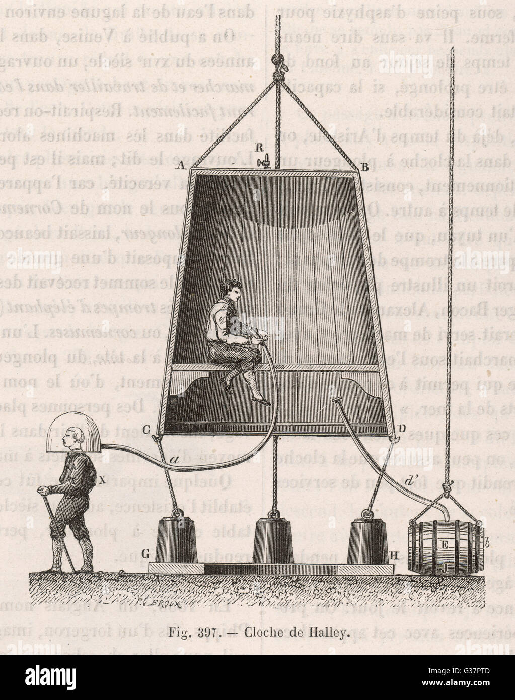 Halley's diving bell         Date: 1690 Stock Photo