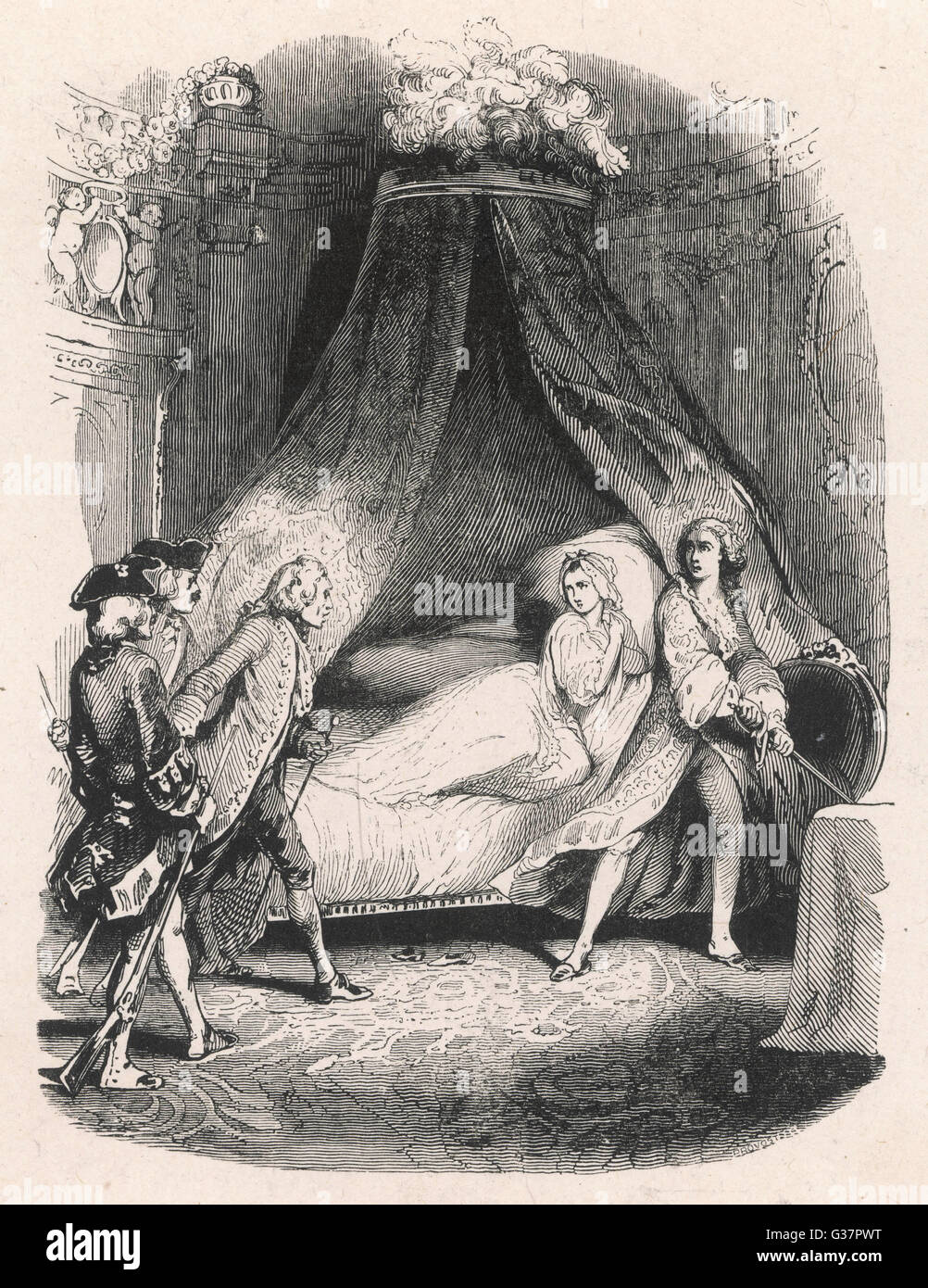 Manon & her lover confronted?          Date: First published: 1731 - Stock Image