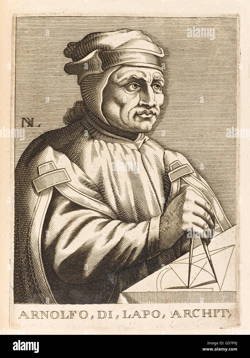 ARNOLFO DI CAMBIO  Italian sculptor and  architect; also known as Arnolfo di Lapo and Arnolfo di Colle     Date: - Stock Image