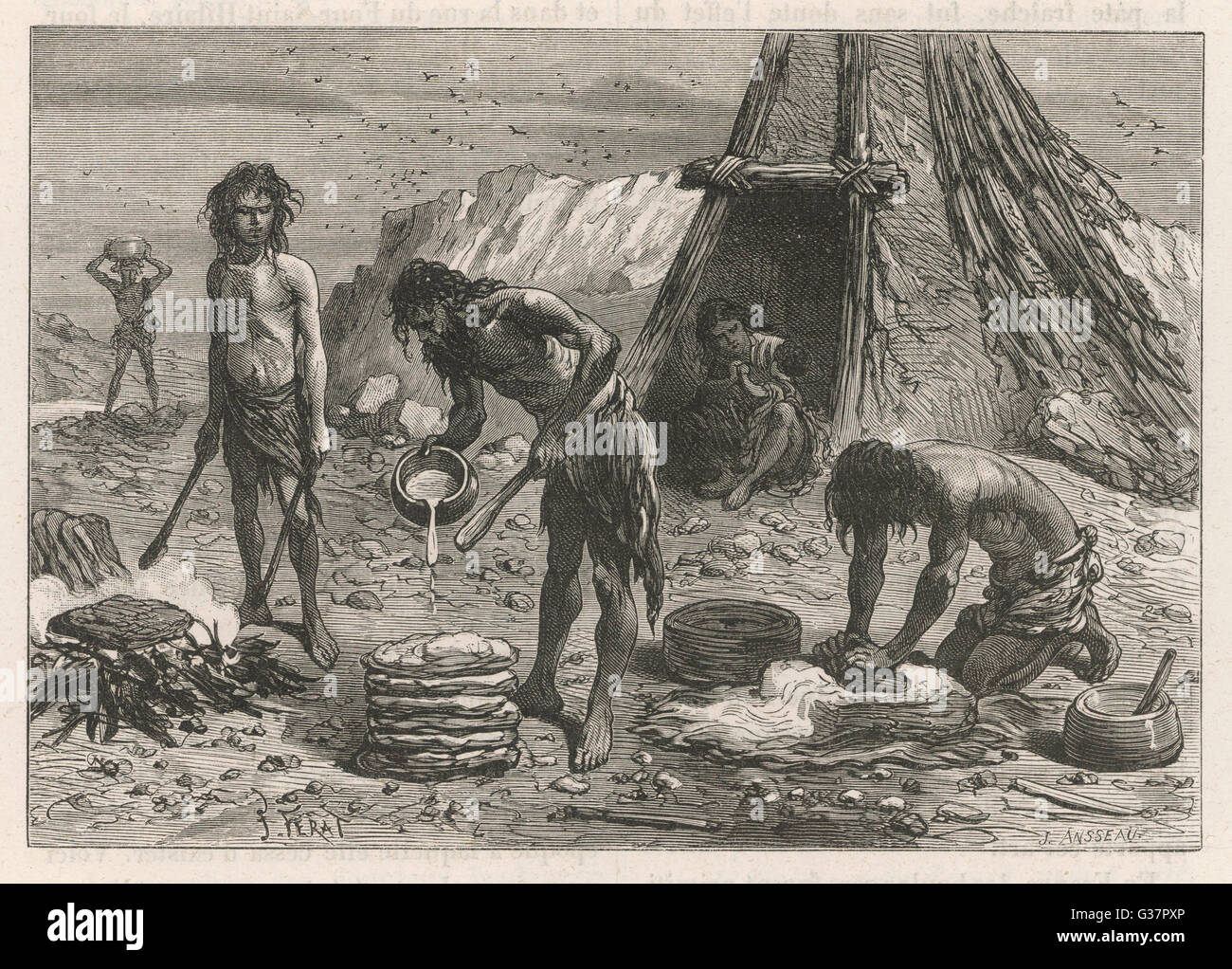 Primitive bread-making in the Stone Age (Palaeolithic era)        Date: circa 3000 BC - Stock Image