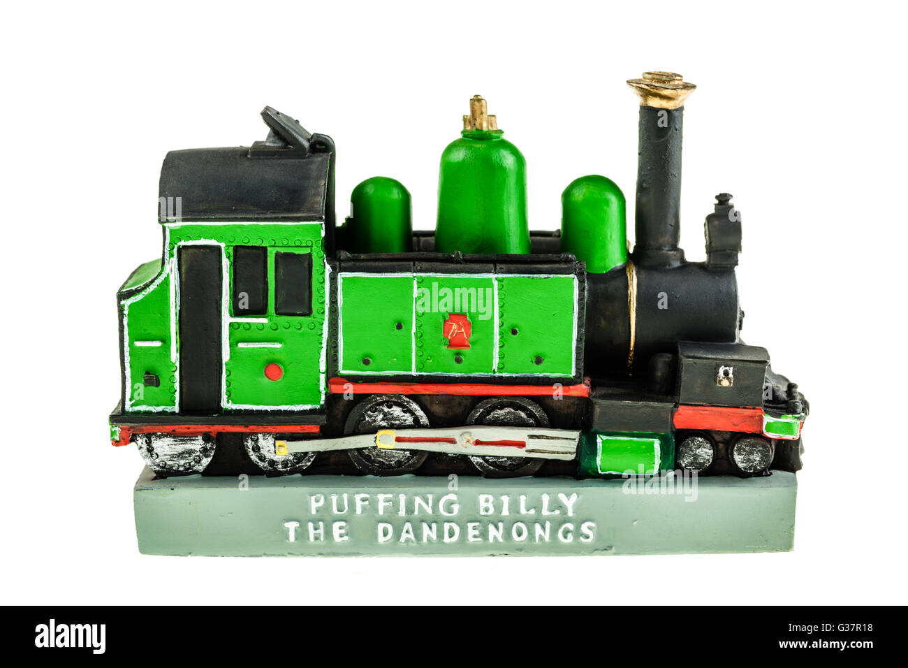 a model of the puffing billy train isolated over a white background - Stock Image