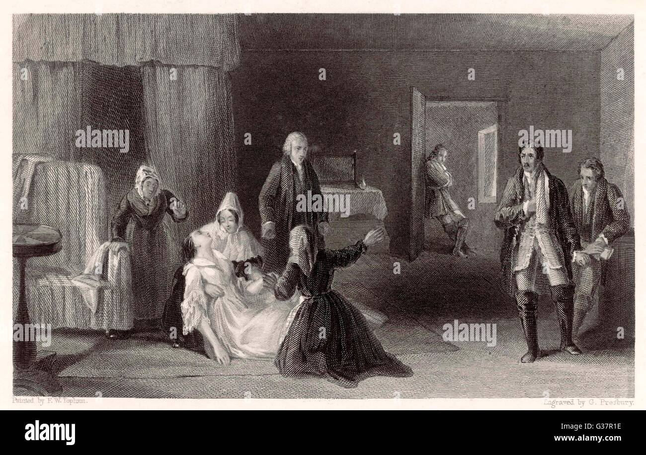'The Lady's Sorrow'  Lady collapses - her concerned  maids gather round to attend  to her while gentlemen - Stock Image