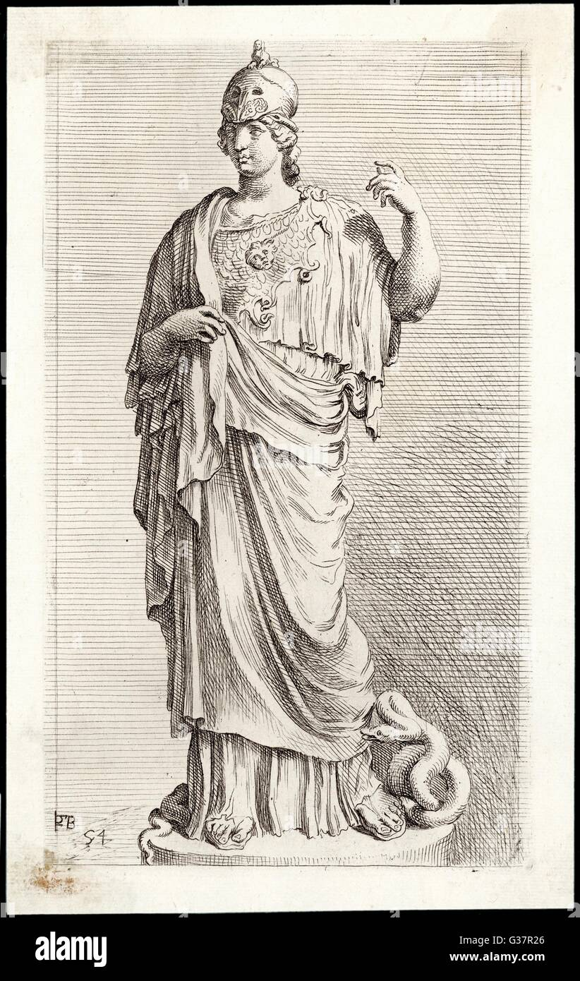 Patron goddess of Athens also  identified with Minerva, the  Italian goddess of crafts. - Stock Image