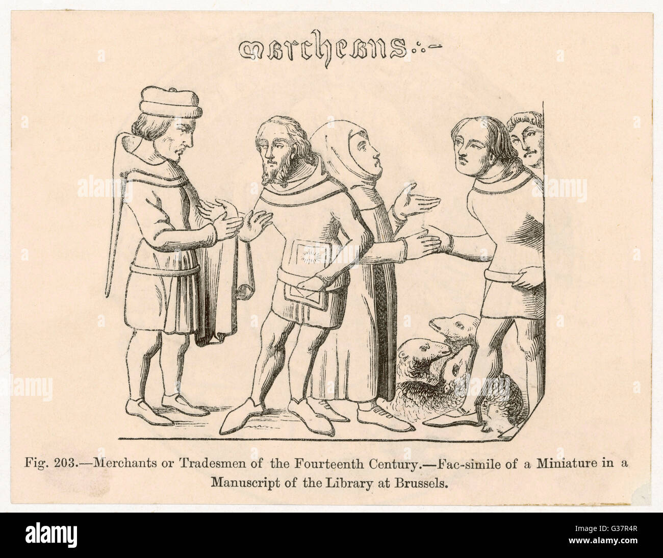 Merchants and tradesmen          Date: 14TH CENTURY - Stock Image