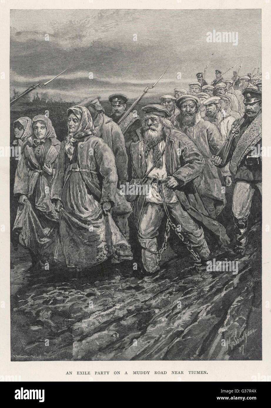 Russian convicts en route to  Siberia.        Date: 1887 - Stock Image