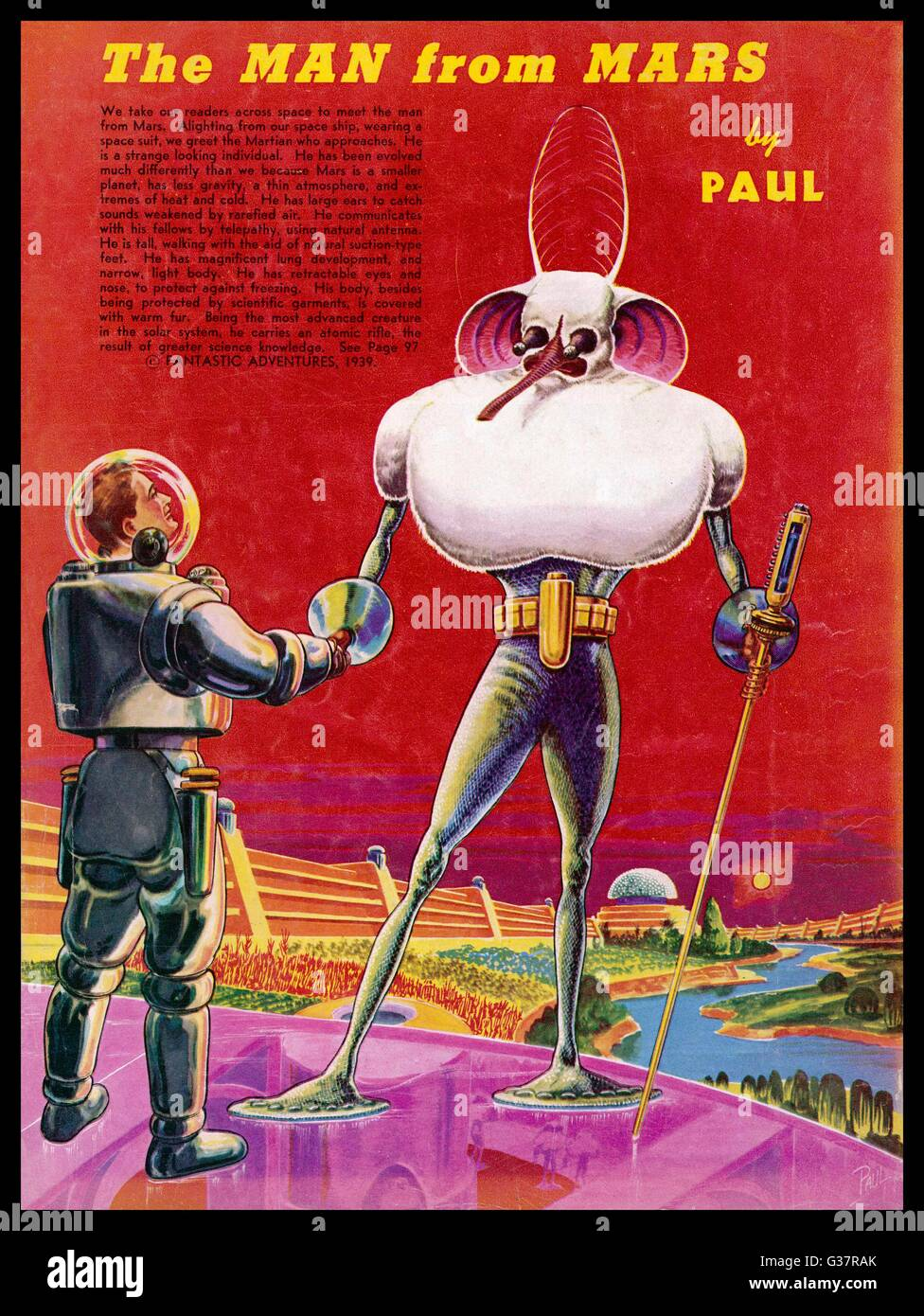 Encounter between an Earthman  and a Martian        Date: 1939 - Stock Image