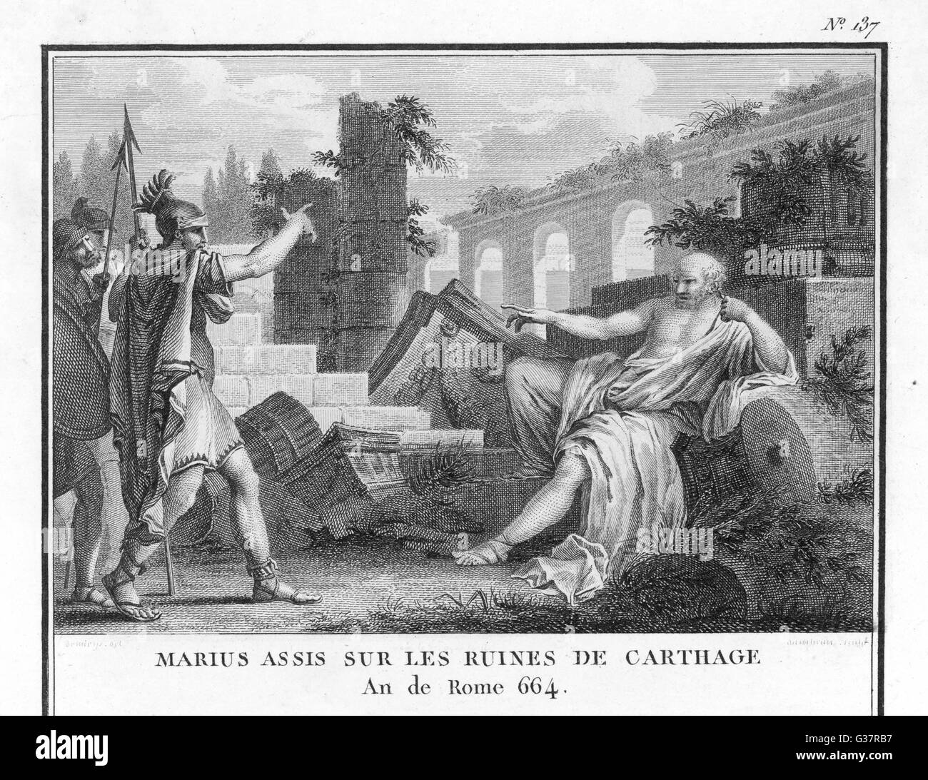 Marius, defeated by Sulla,  flees to Carthage and  meditates among its ruins         Date: 86 BC - Stock Image