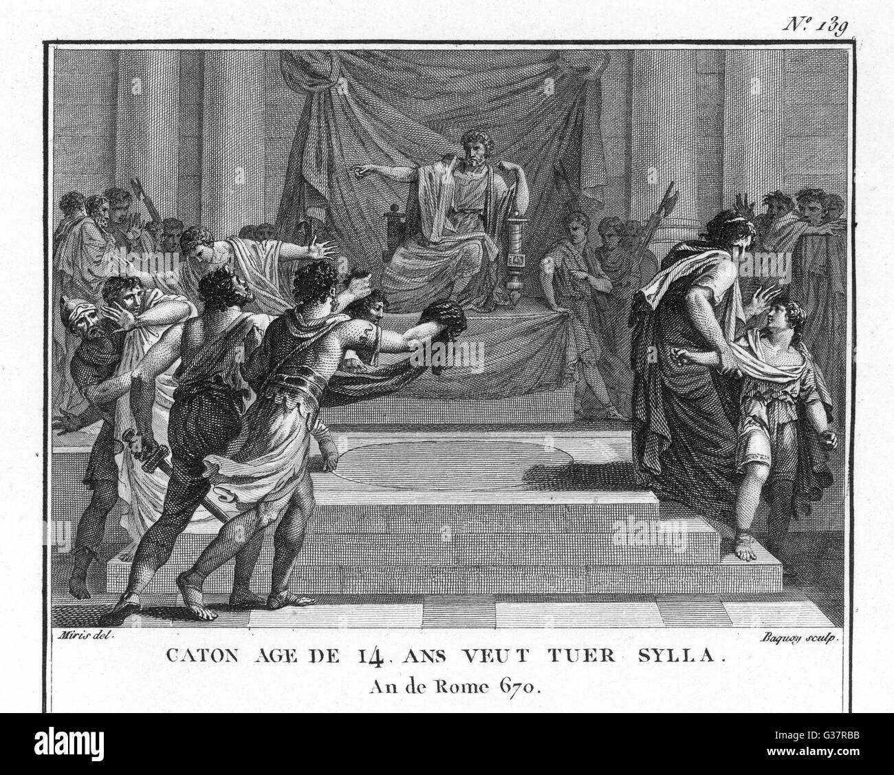 The cruelties of Sulla's  dictatorship inspire the 14-  year old Cato to think of  assassinating him, but his - Stock Image