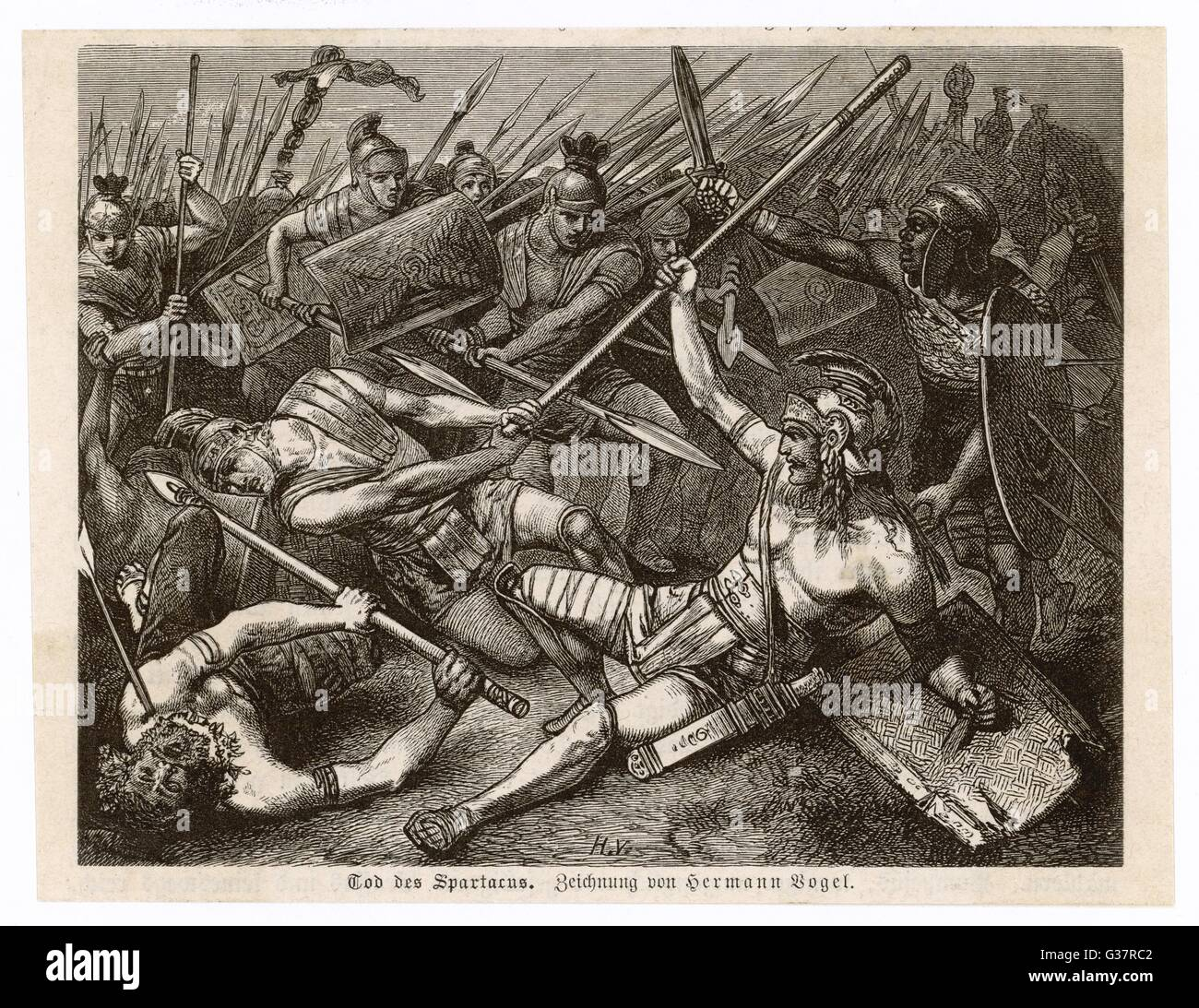 SLAVE REVOLT In the final battle Crassus  defeats the slaves and  Spartacus is killed on the  battlefield      Date: - Stock Image
