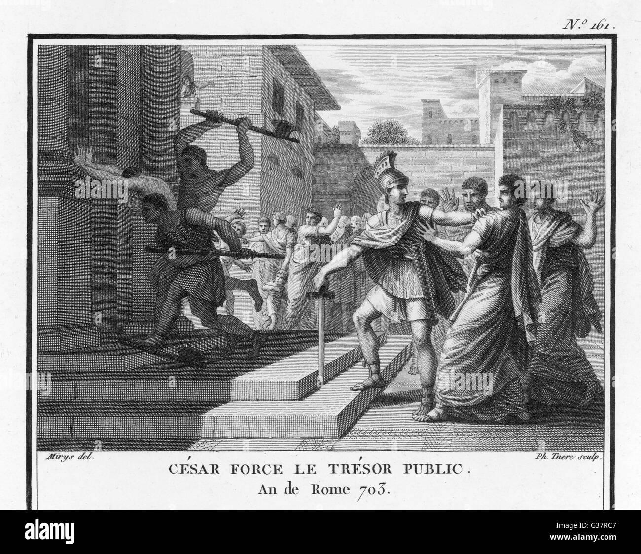 Julius Caesar, having entered  Rome,  forces the Public  Treasury         Date: 49 BC - Stock Image