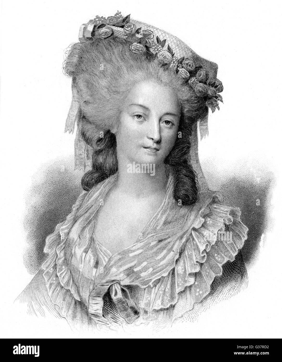 MARIE THERESE LOUISE DE SAVOIE CARIGNAN, princesse de  LAMBALLE French noblewoman, friend of  Marie Antoinette, - Stock Image