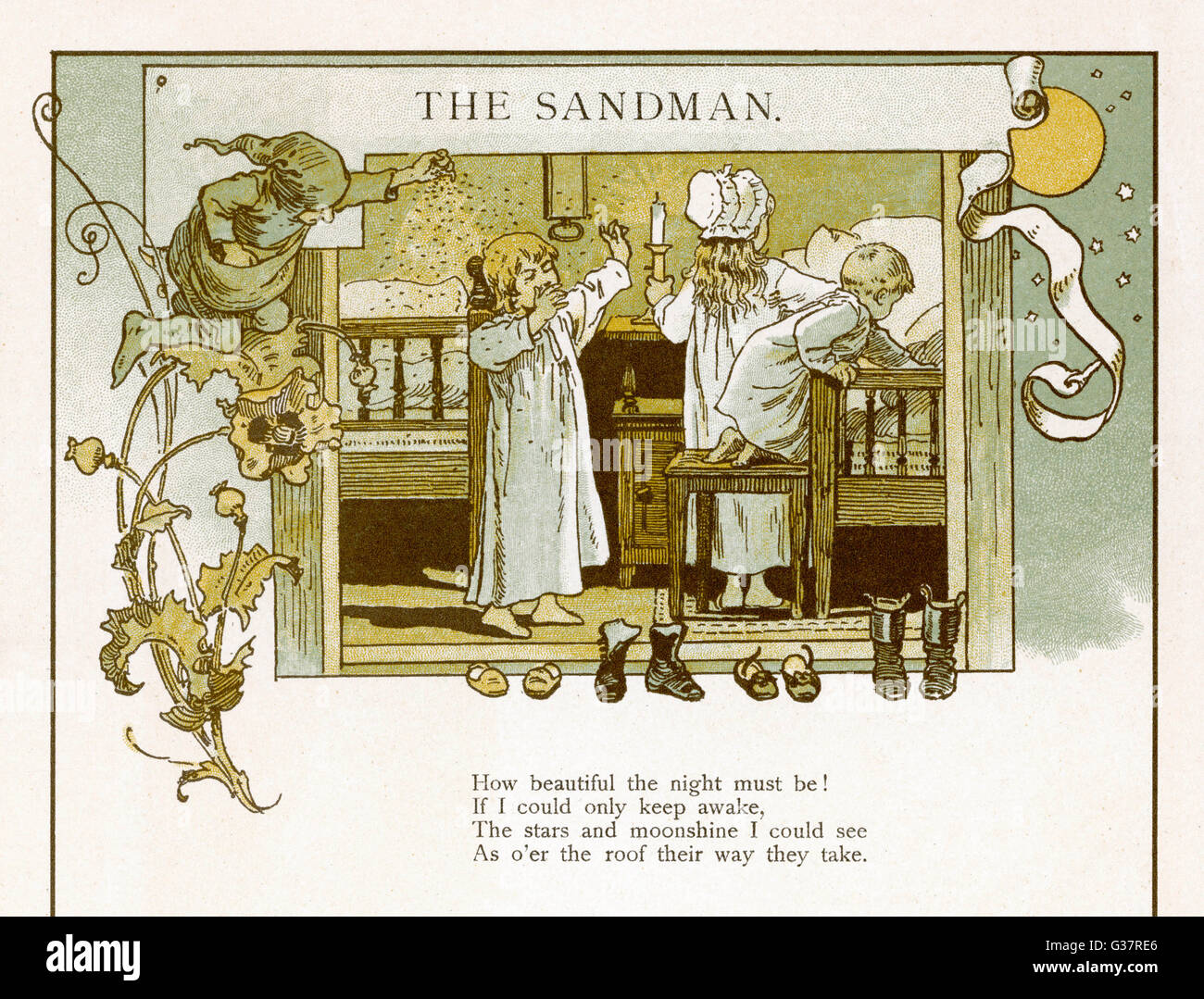 Three children go to their  beds, encouraged by The  Sandman        Date: 1893 - Stock Image