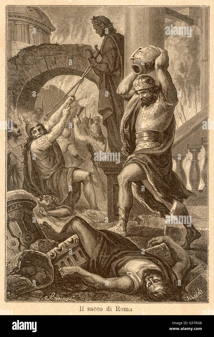 THE FALL OF ROME Alaric's Visigoths sack Rome,  displaying a deplorable lack  of esthetic appreciation      - Stock Image