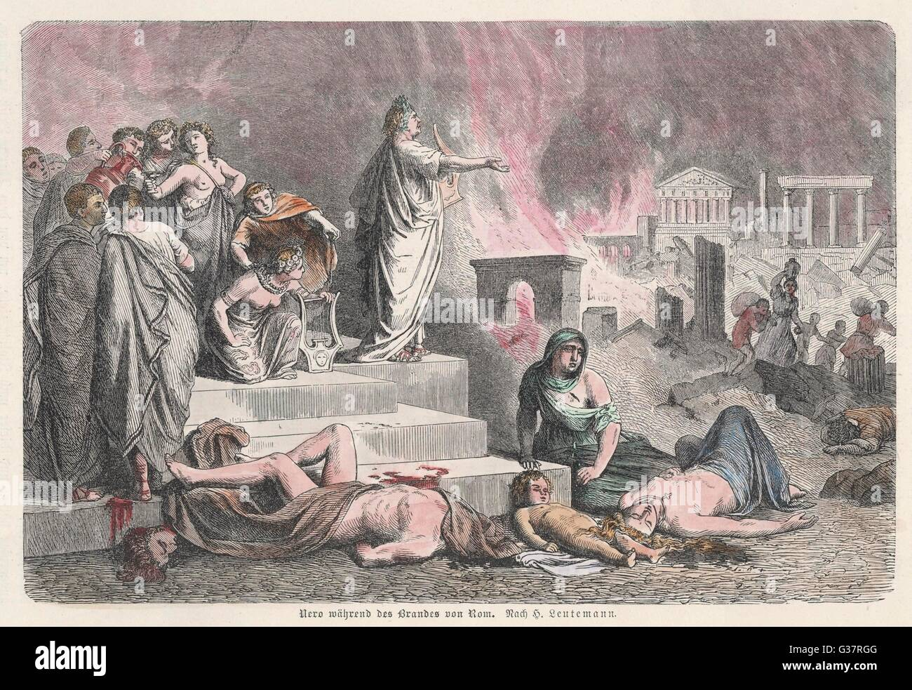 The emperor NERO watches Rome  burn         Date: 64 - Stock Image