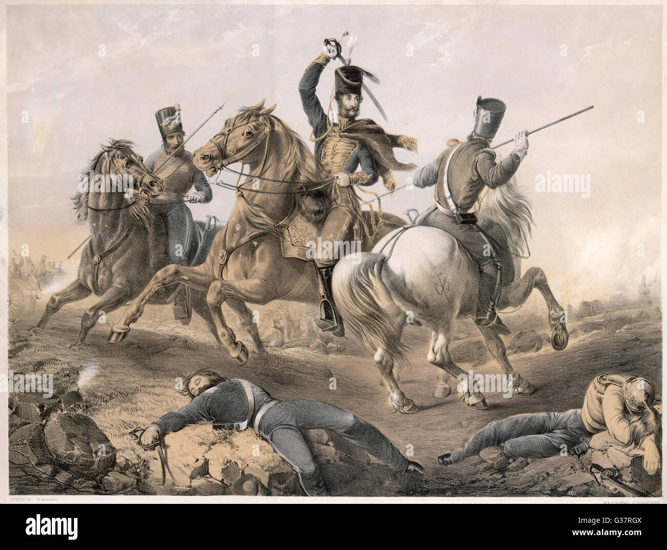 The charge of the Light  Brigade  Cardigan in action      Date: 1854 - Stock Image