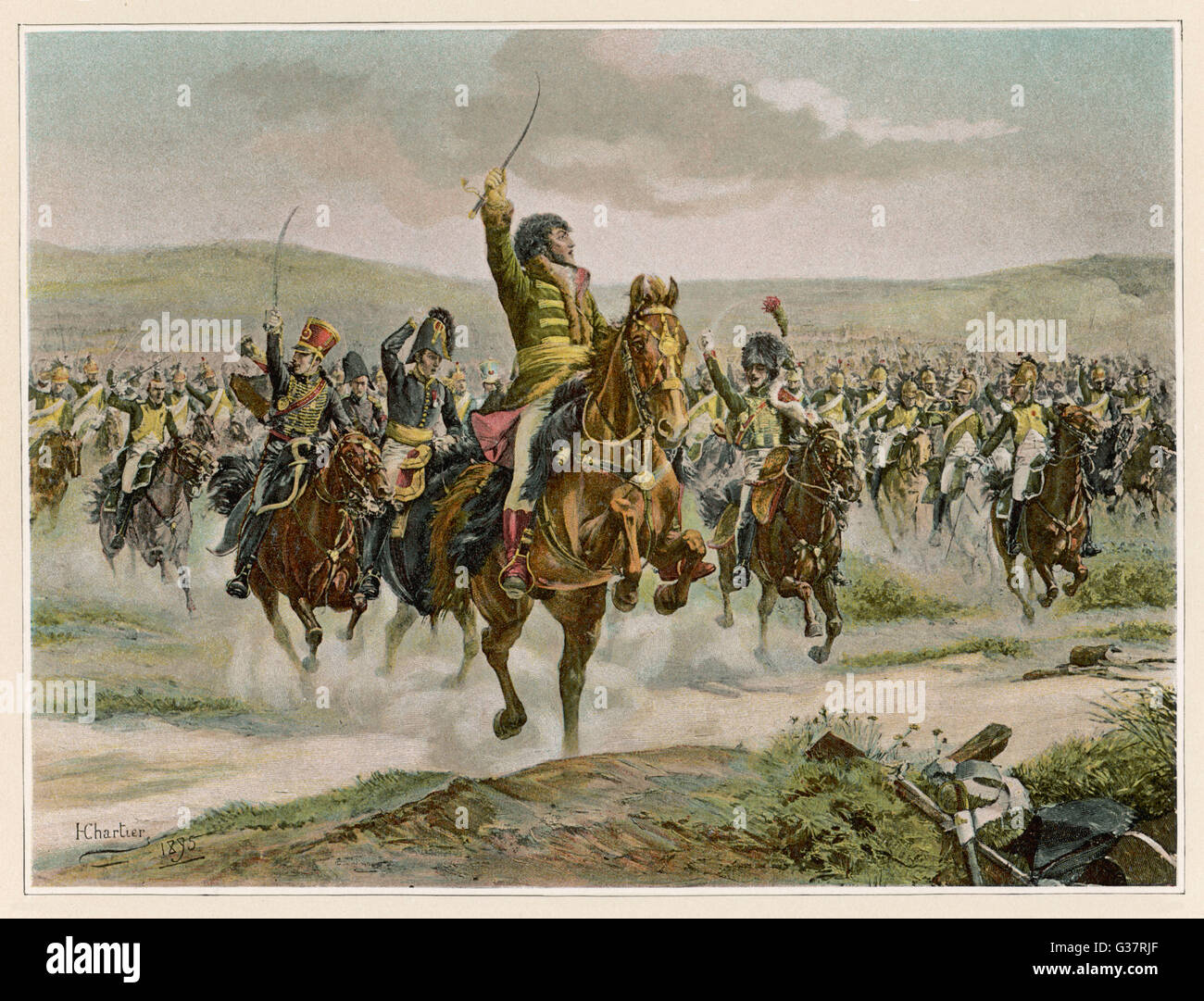 BATTLE OF JENA Murat leads the French cavalry  to victory against the  Prussians       Date: 14 October 1806 - Stock Image