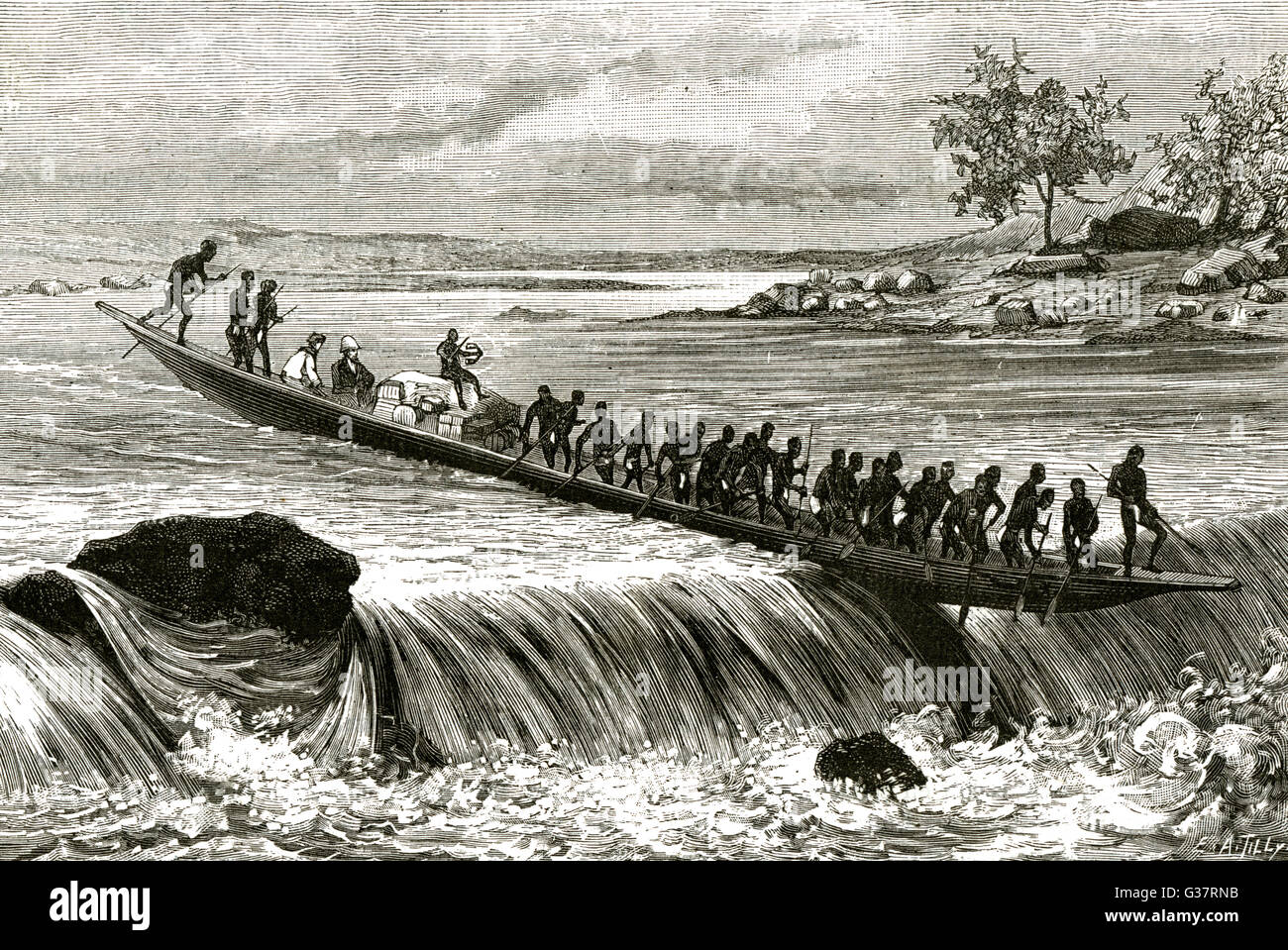 Brazza's explorations in equatorial Africa -  negotiating rapids on  the River Ogooue      Date: 1875 -1878 - Stock Image