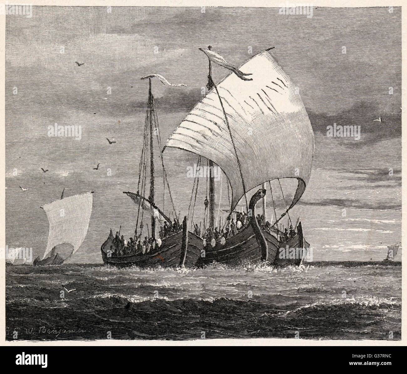 Vikings crossing the North Sea  to attack England, with three  vessels lashed together for  protection       Date: - Stock Image