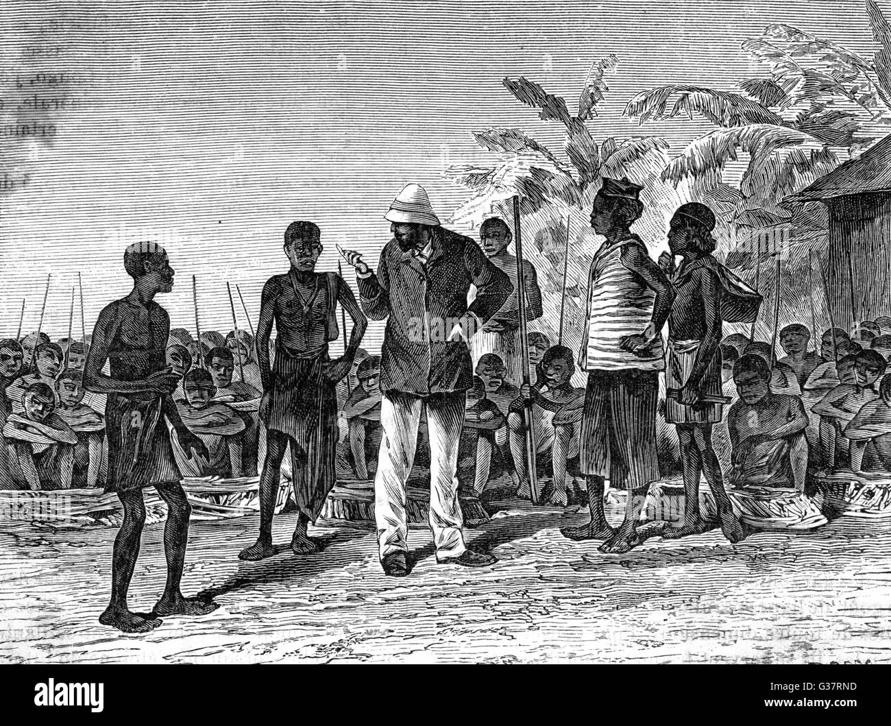 Brazza's explorations in equatorial Africa -  organising a convoy        Date: 1875 -1878 - Stock Image