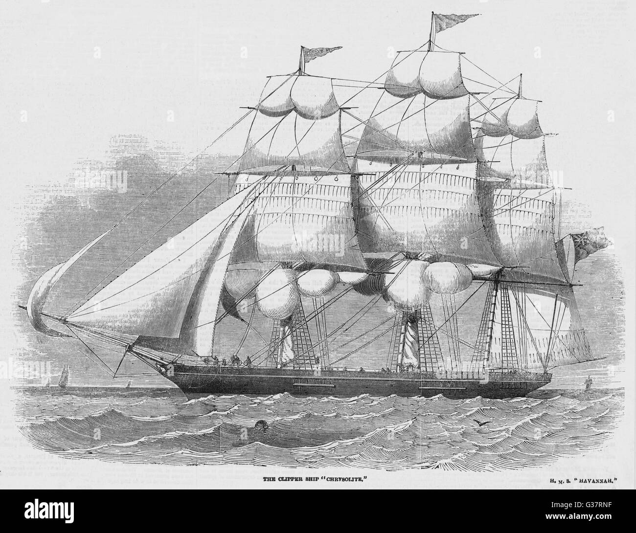 Sailing clipper          Date: 1852 - Stock Image
