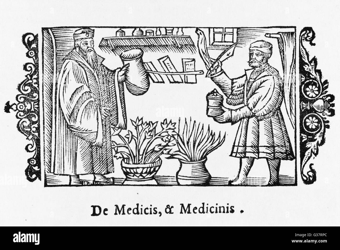 A DOCTOR AND AN APOTHECARY          Date: 1555 Stock Photo