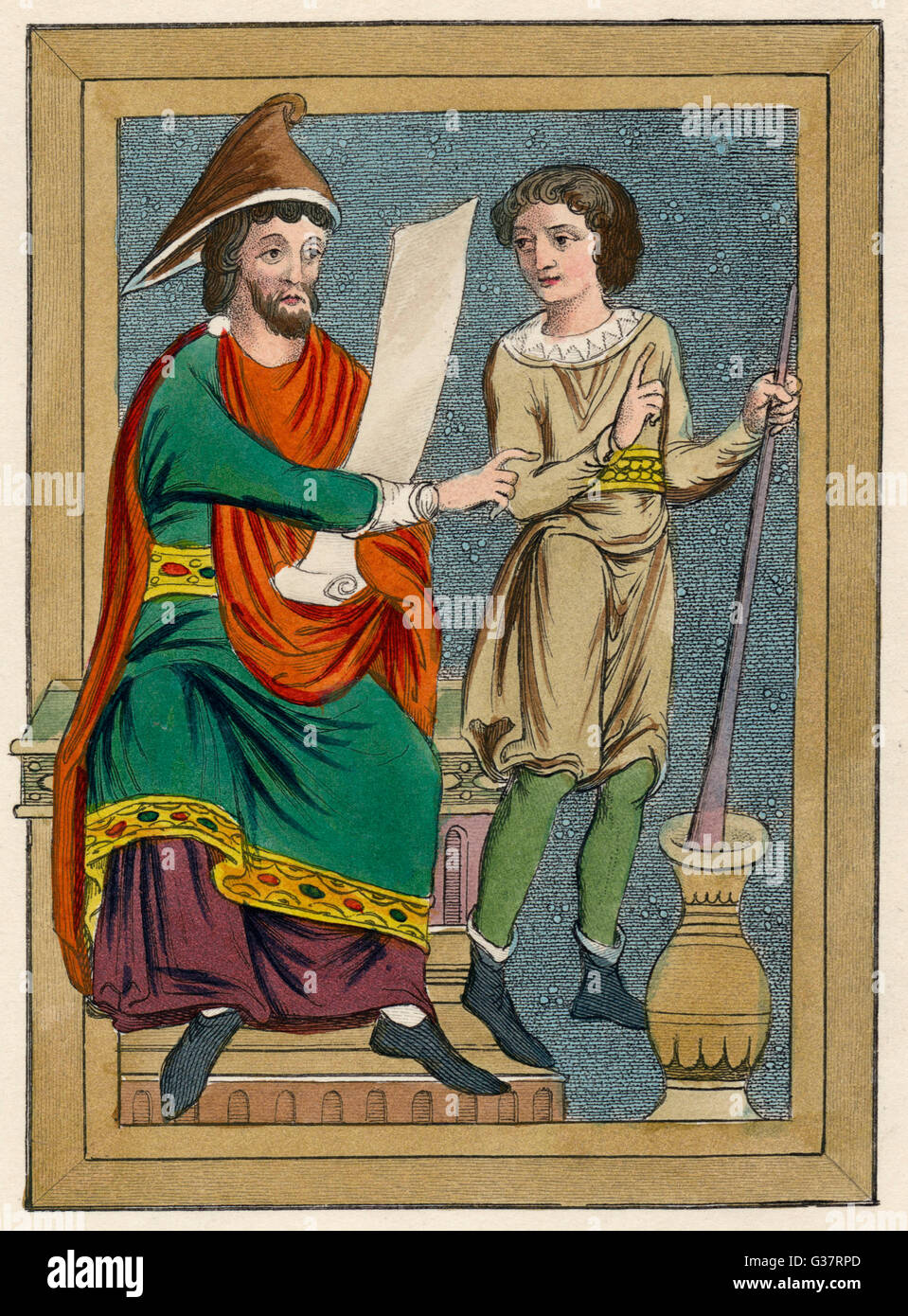 Physician and his servant          Date: 13th Century - Stock Image
