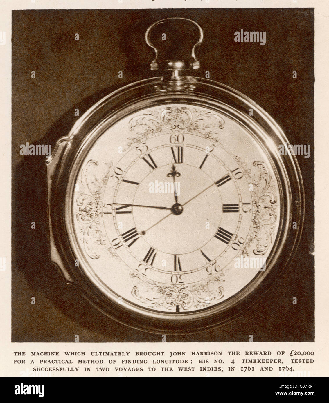 Harrison's number 4 timekeeper  or chronometer for finding  longitude.       Date: circa 1760 - Stock Image