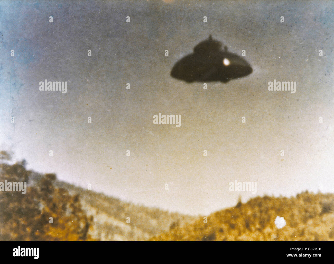 Adamski-type UFO allegedly  photographed by Fritz van Nest  near Kanab, Utah, in full  daylight       Date: 21 March - Stock Image