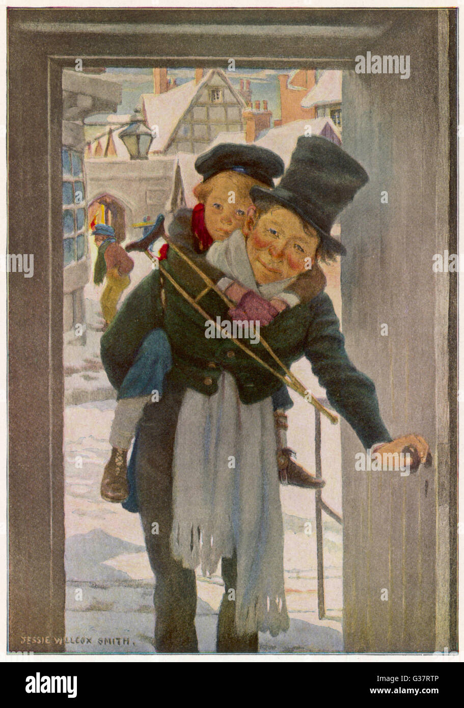 Bob Cratchit with 'Tiny Tim',  his crippled youngest son         Date: First published: 1843-44 - Stock Image