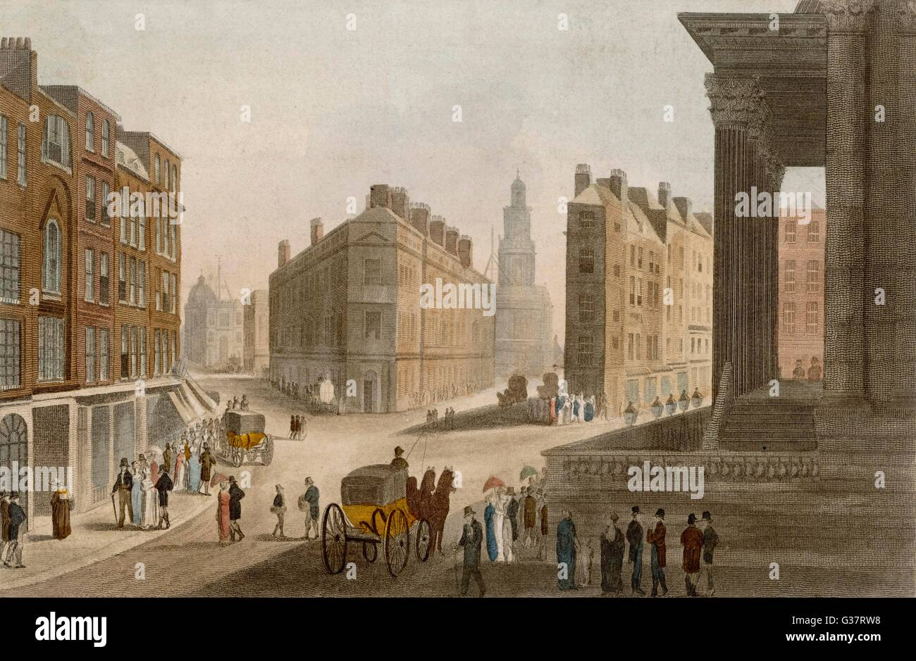 Cornhill, Lombard Street and  the portico of the Mansion  House        Date: circa 1810 - Stock Image