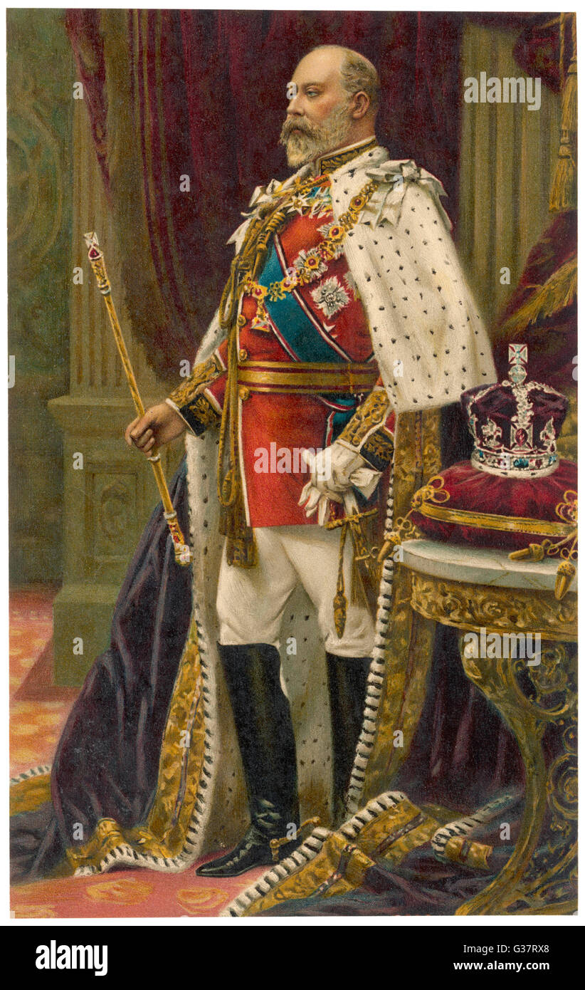 EDWARD VII, BRITISH ROYALTY in his coronation robes (probably 1902)        Date: 1841 - 1910 - Stock Image