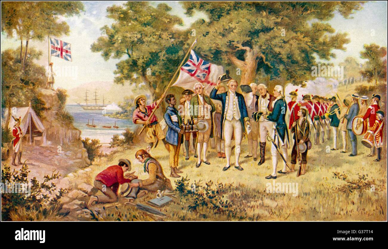 Captain Cook takes formal  possession of New South Wales         Date: 28 April 1770 - Stock Image